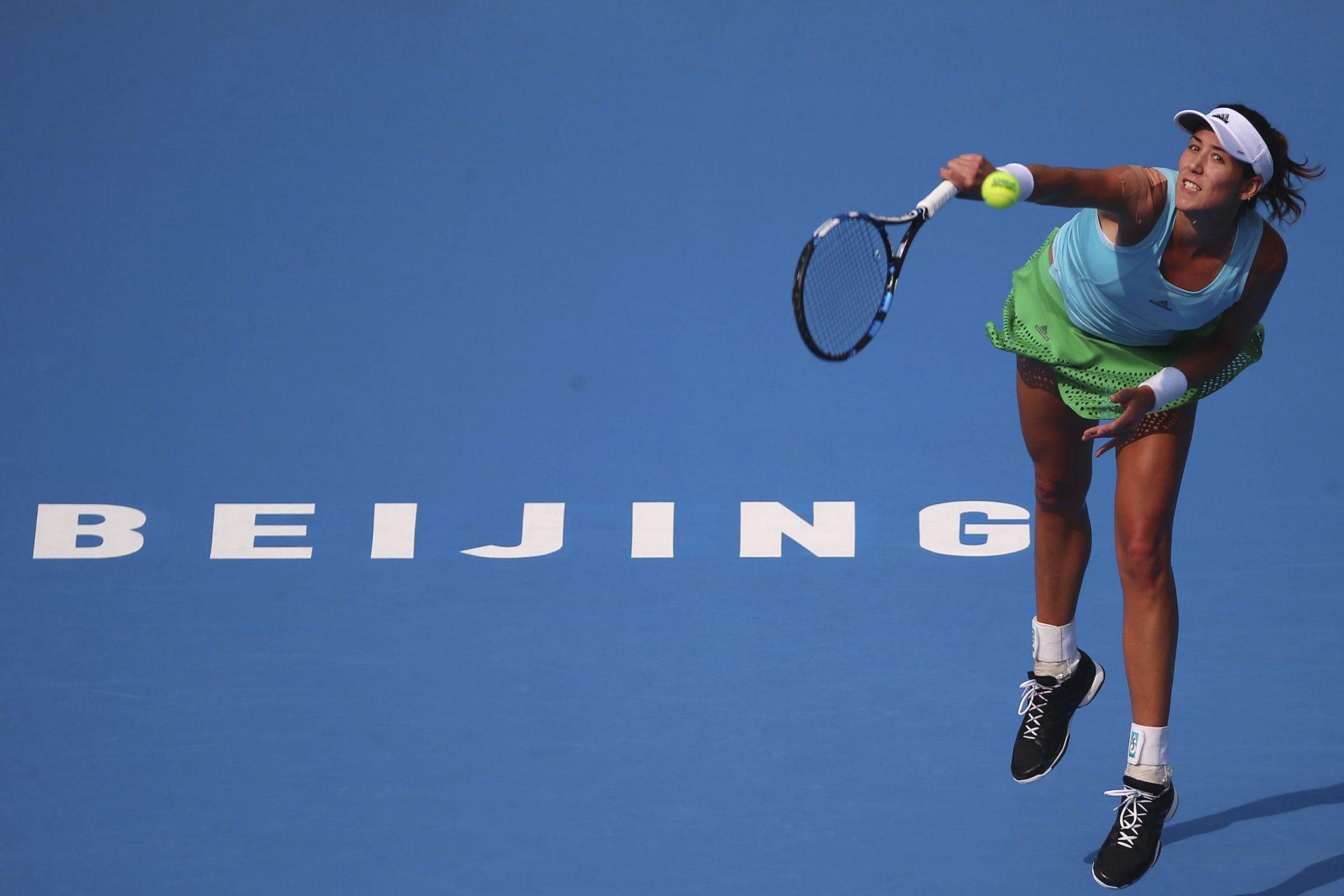Fotografía de Garbiñe Muguruza en un partido del China Open / Pekín