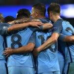 Los jugadores del Manchester City celebran un gol | Foto: EFE