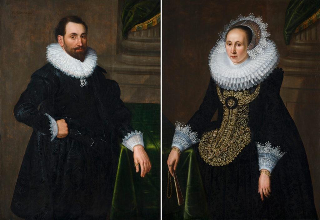 Fotografía del cuadro Retrato de caballero y Retrato de dama, Michiel J. Van Mierevelt Colección BBVA