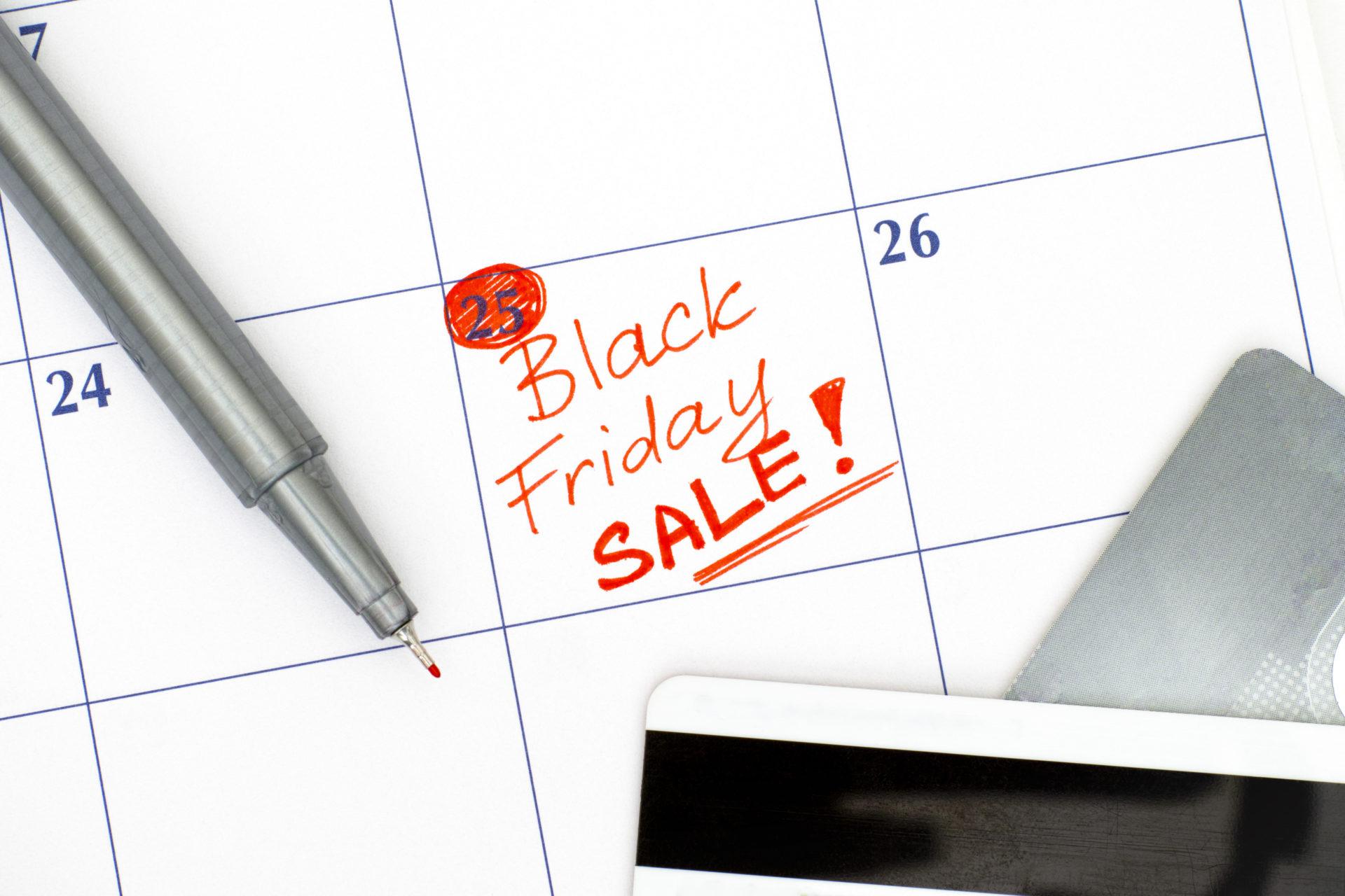 Recurso Black Friday en el calendario