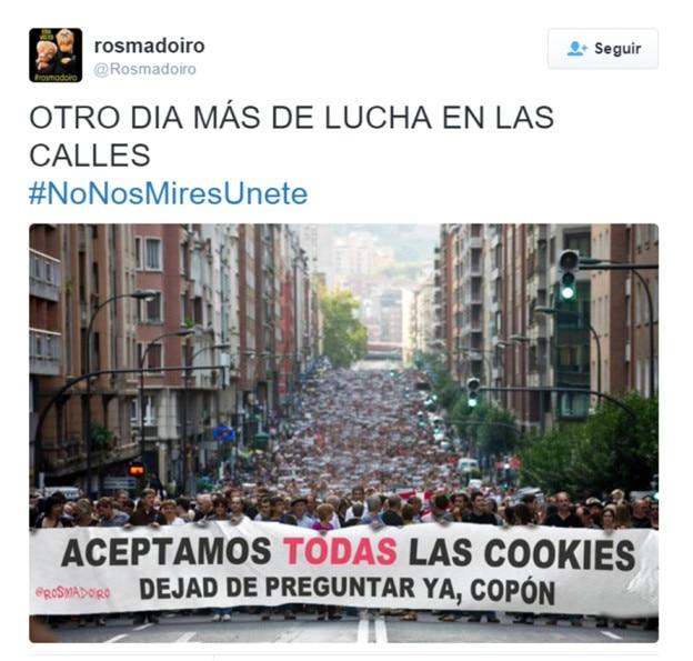 Pantallazo twitter sobre cookies
