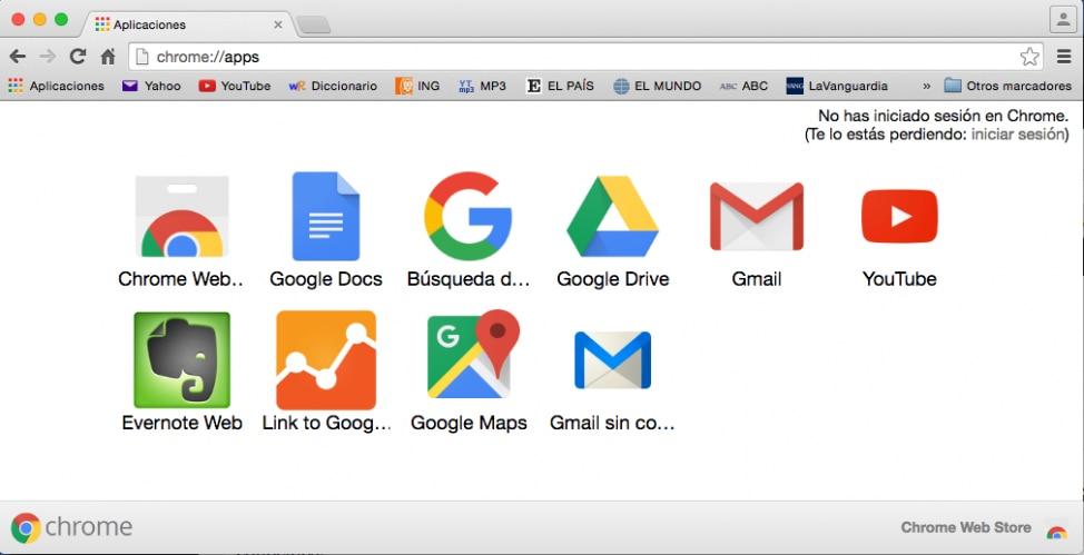 La pestaña de las aplicaciones de Google Chrome que tienes instaladas. En azul está Sin Conexión.