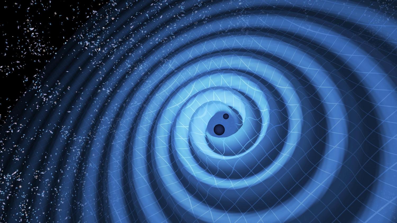 Imagen de ondas gravitacionales causadas por la fusión de dos agujeros negros, explicada por David Reize en la Fundación BBVA