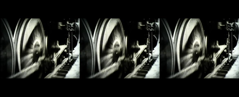 Imagen de un fotograma de la obra Different Trains de Beatriz Caravaggio, por encargo de Fundación BBVA
