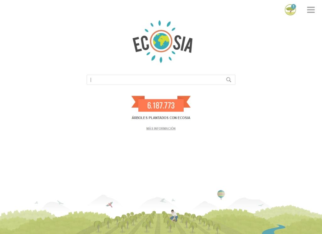 Ecosia buscador y plugin pantallazo CRÉDITO A ECOSIA