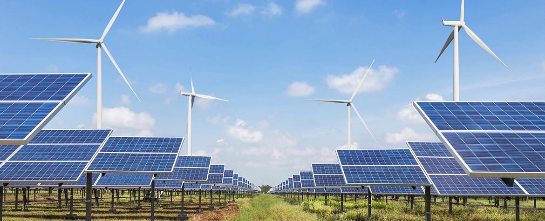 Fotografia de recurso, paneles solares y molinos de viento, finanzas, BBVA