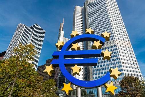 Euro symbol and European Central Bank in Frankfurt