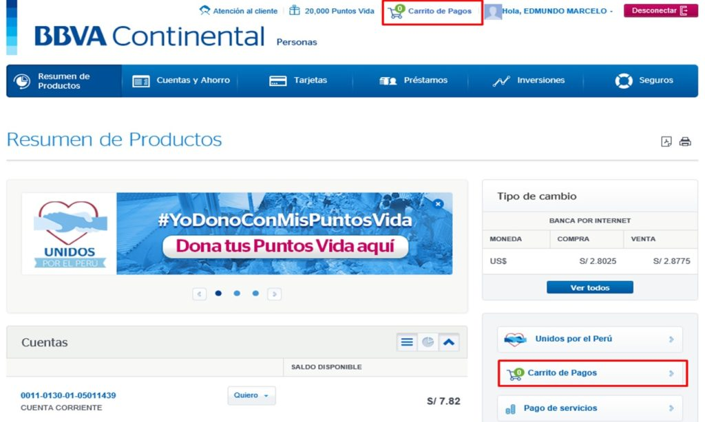 Carrito de Pagos de Servicios en Banca por Internet de BBVA Continental