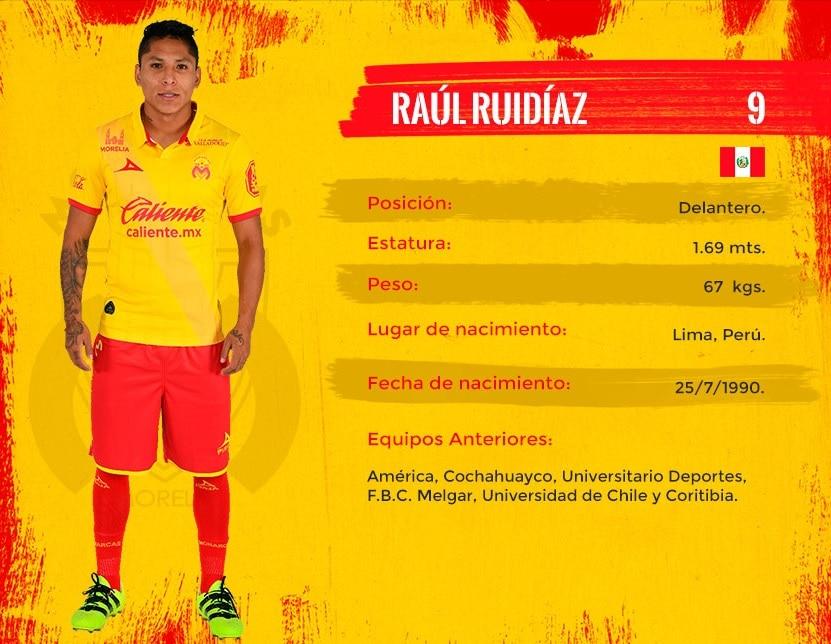Ficha oficial de Raúl Ruidíaz en el Monarcas Morelia de la Liga BBVA Bancomer