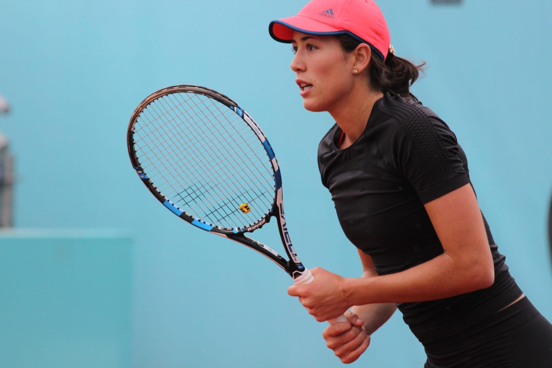 Garbiñe Muguruza durante un entrenamiento del Madrid Open