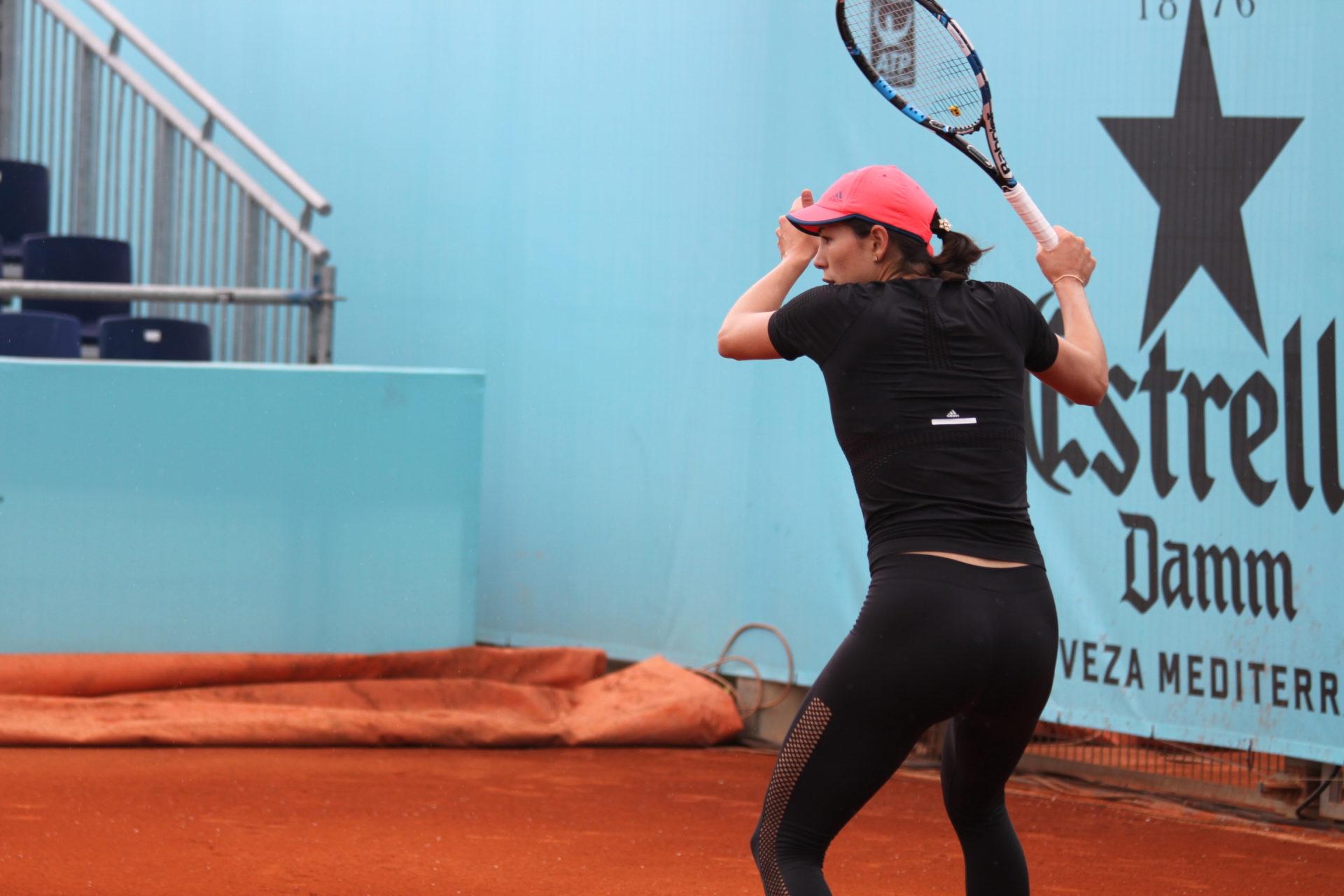 Garbiñe Muguruza en un entrenamiento del Madrid Open