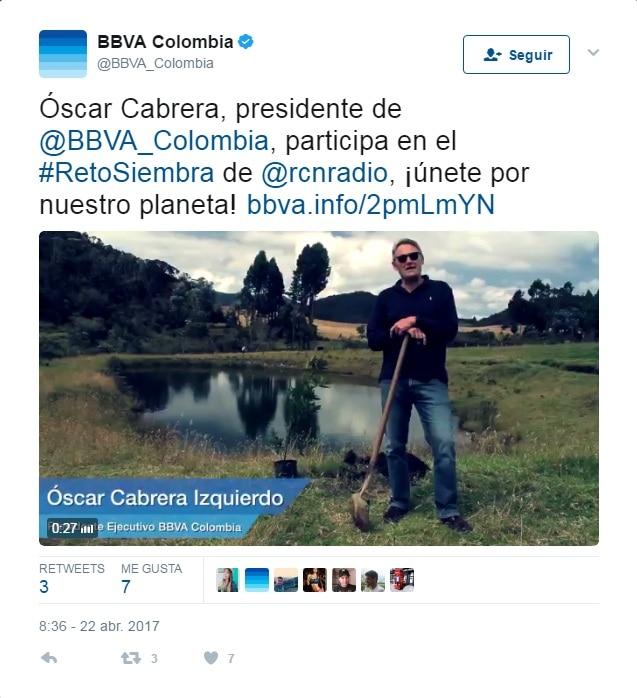 Fotografía de Oscar Cabrera BBVA Colombia Tweet