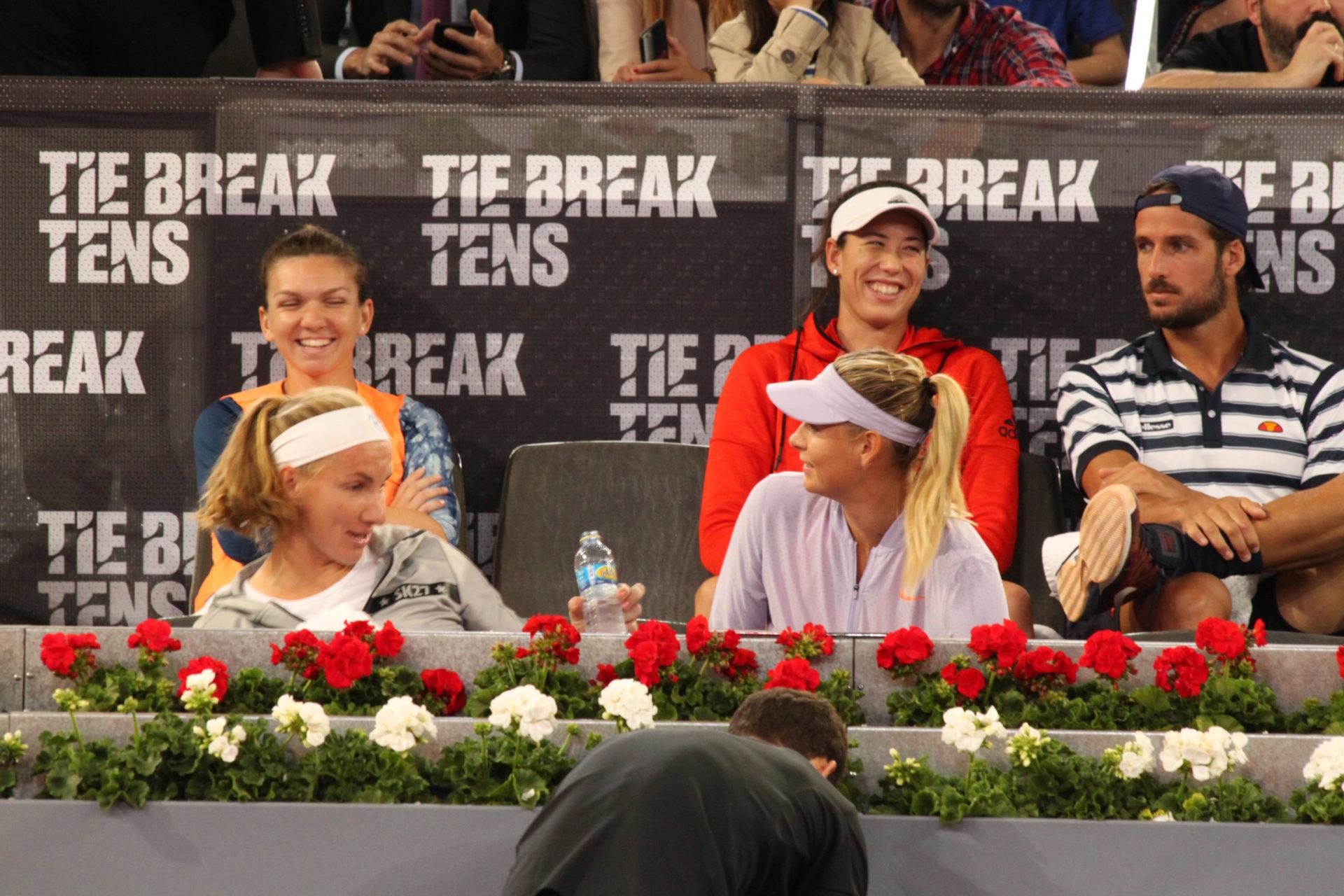 Simona Halep, Garbiñe Muguruza, Feliciano López, Sveta Kuznetsova y Maria Sharapova en el Madrid Open