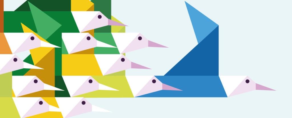 bbva ecologia medio ambiente responsable dibujo de pájaros volando