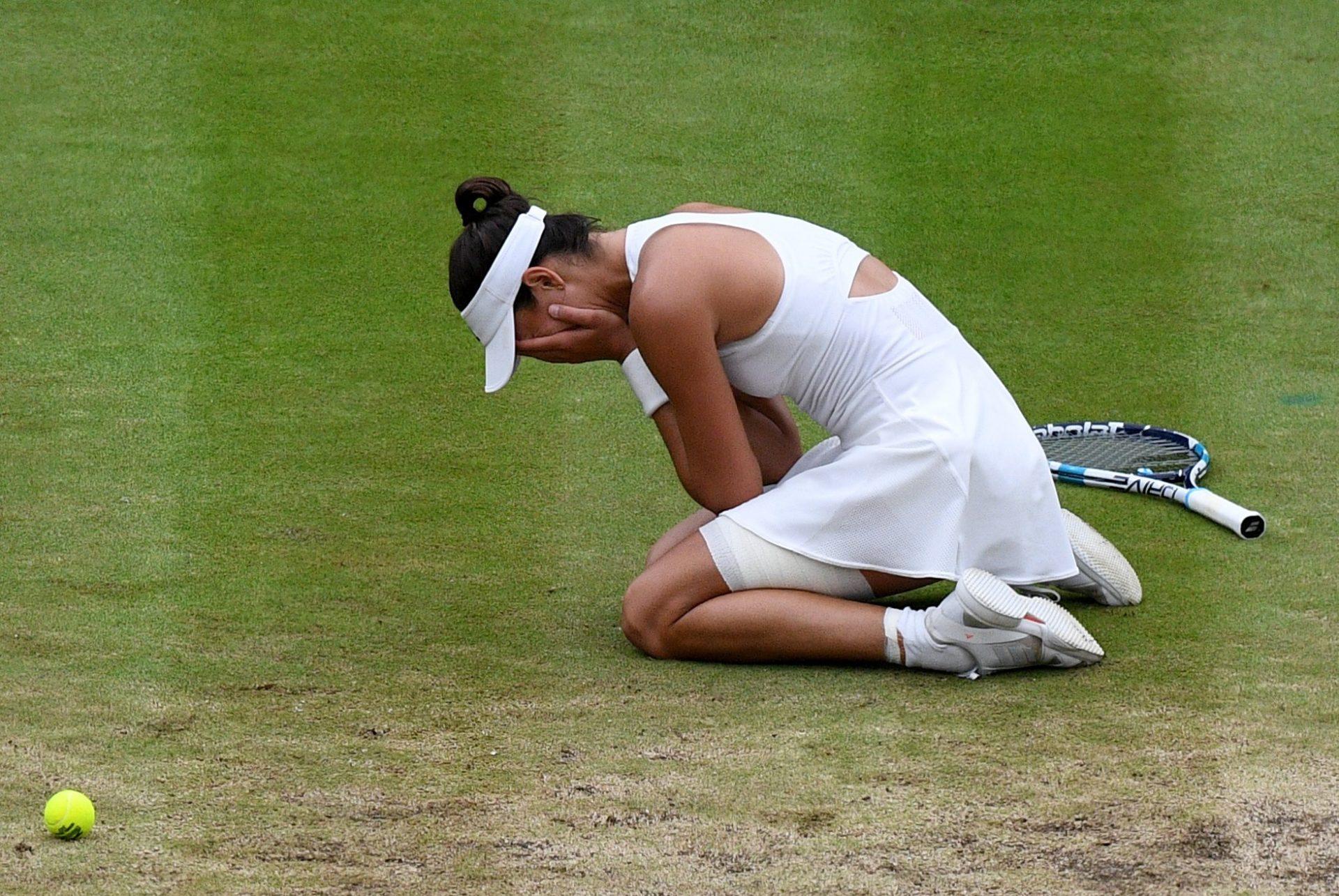 Garbiñe Muguruza al saberse campeona de Wimbledon 2017