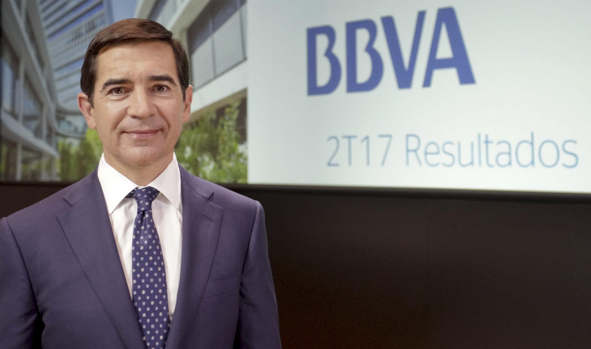 El consejero delegado de BBVA, Carlos Torres Vila, durante la presentación de los resultados 2T17
