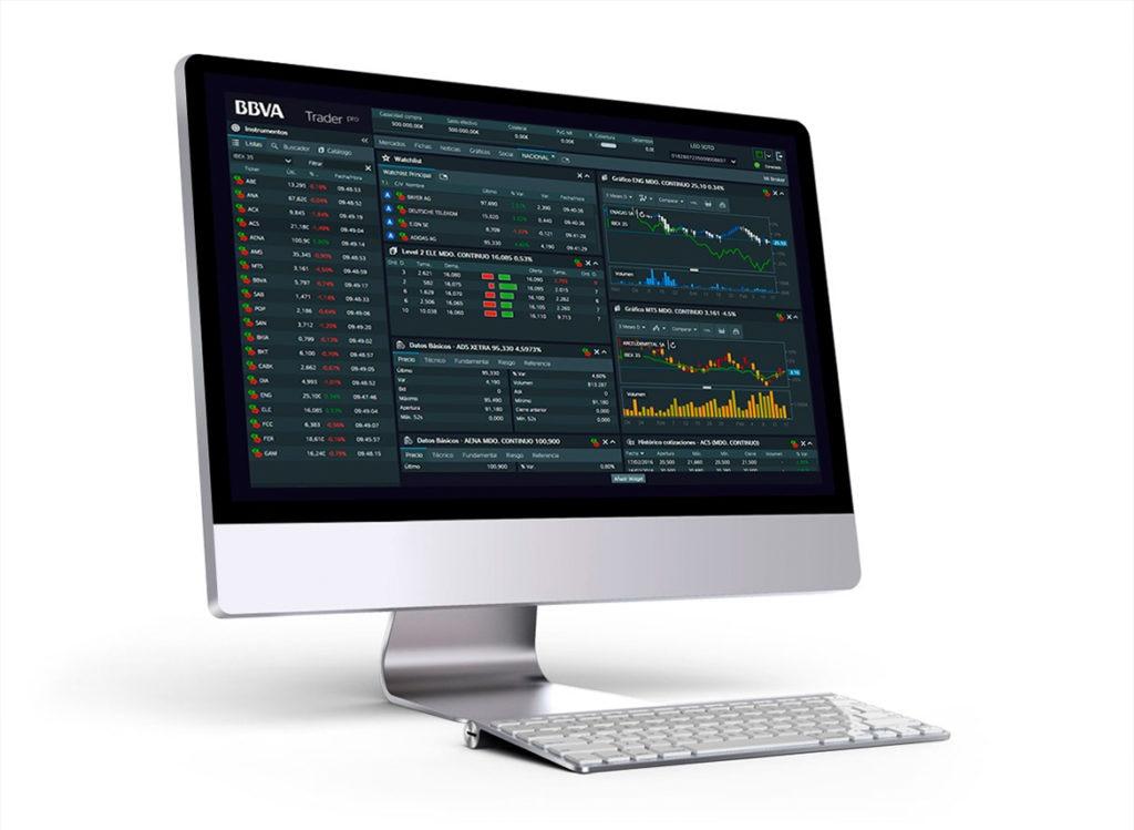 Fotografía de la interfaz de BBVA Trader Pro