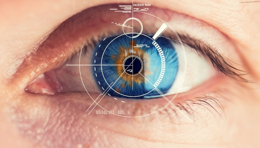 Security Retina Scanner on blue eye bbva