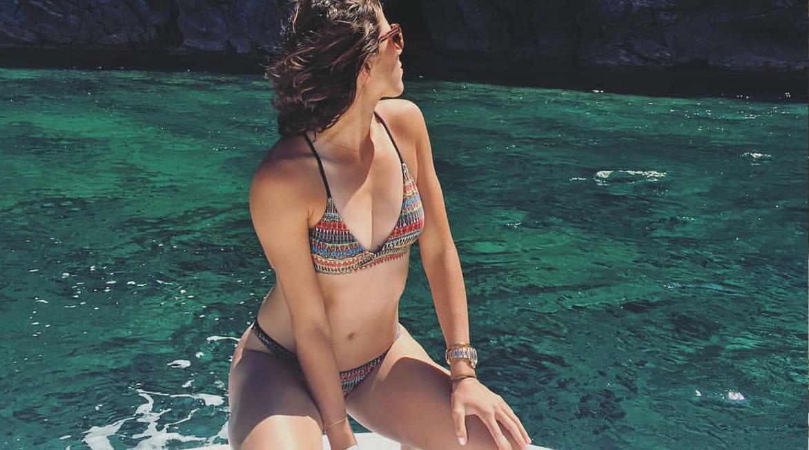 Garbiñe Muguruza disfrutando del mar en Formentera