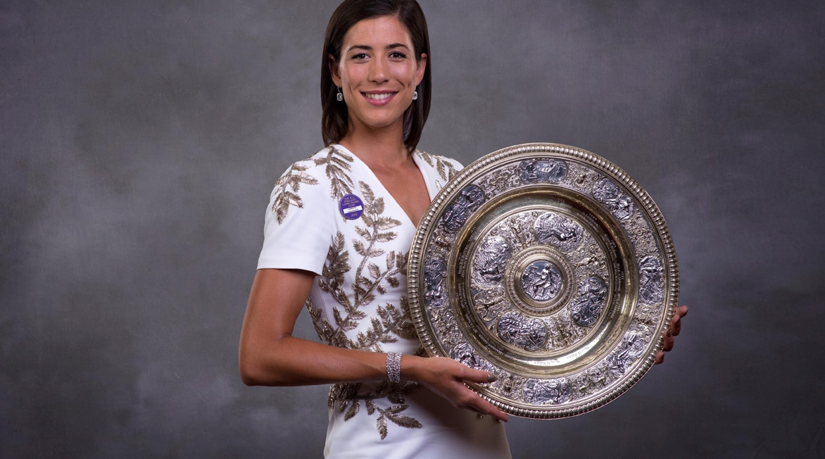Garbiñe Muguruza en la fiesta de campeones de Wimbledon 2017