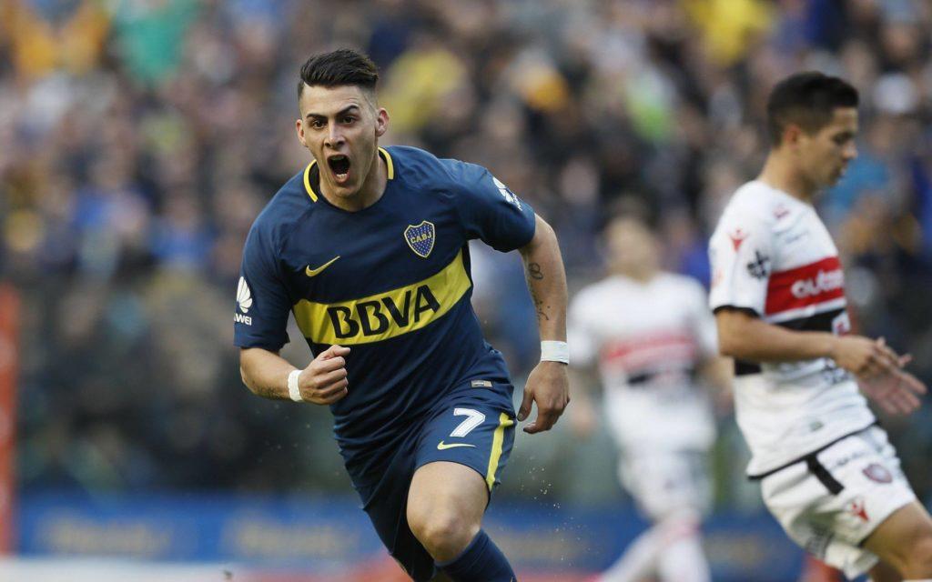 Cristian Pavón festeja su gol en la victoria de Boca 1 a 0 frente a Chacarita
