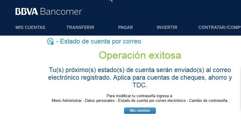Confirmación de envío de estado de cuenta en bancomer.com