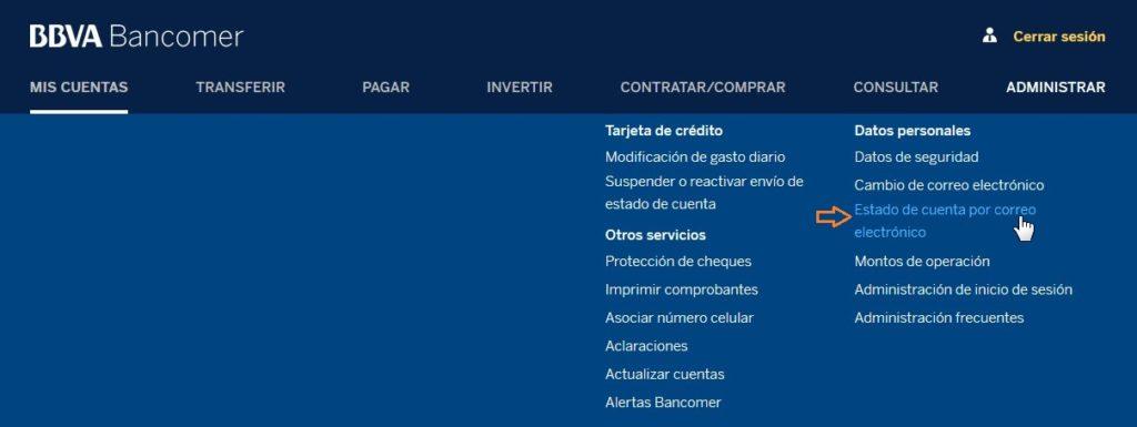 Solicitud de estado de cuenta en Bancomer.com
