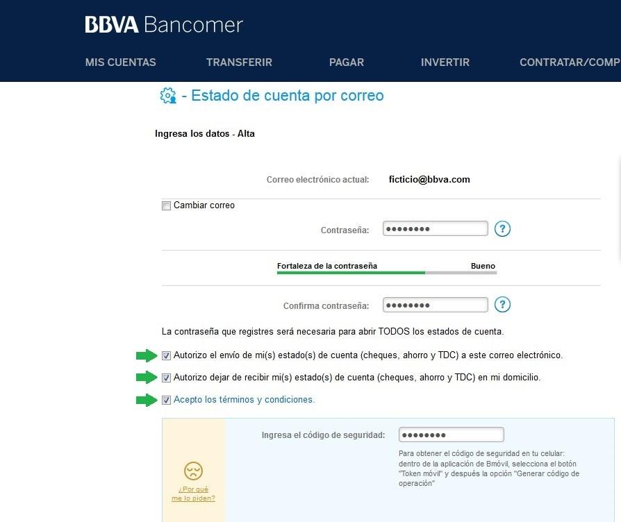 Llenado de password para estados de cuenta en Bancomer.com