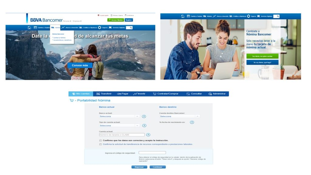 pantalla bancomer com portabilidad nómina Bancomer