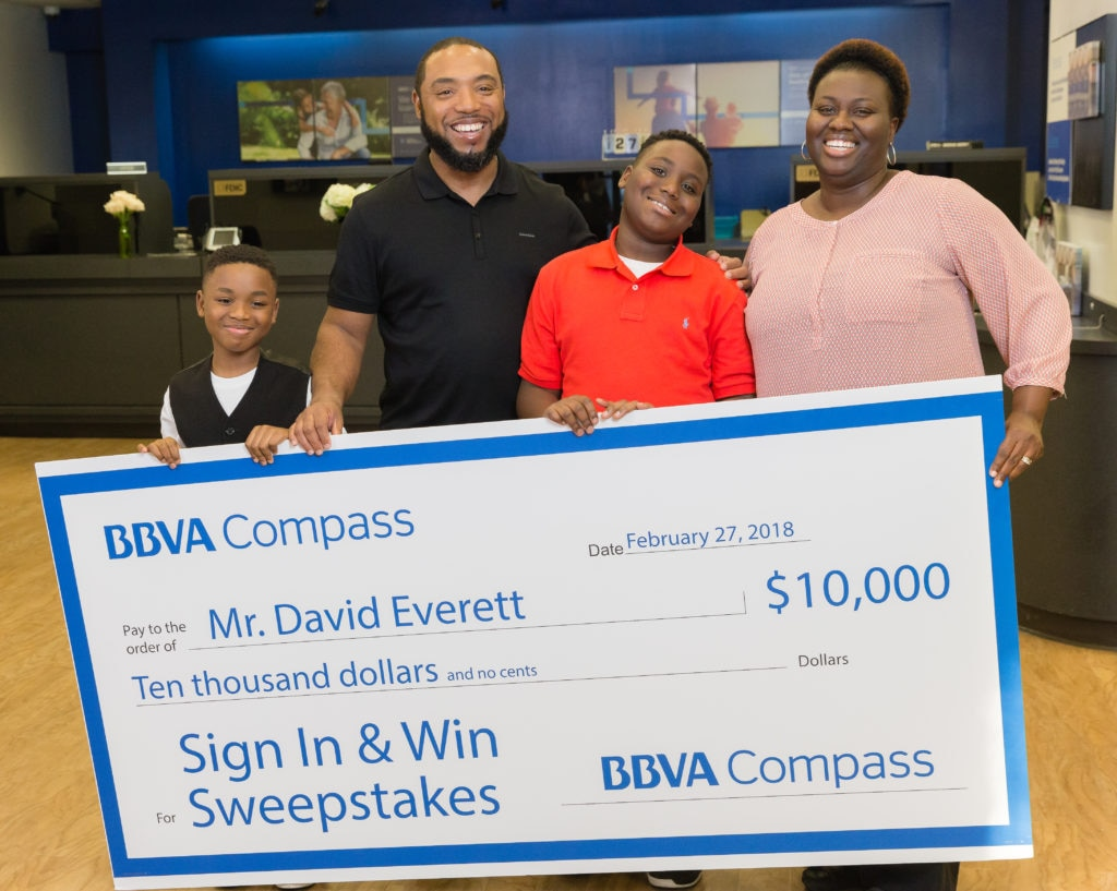 BBVA Compass customer David Everett was the grand prize winner of BBVA Compass Sign In & Win Sweepstakes.