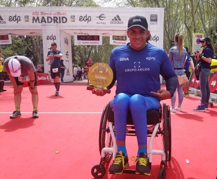 Francisco Sanclemente, ganador en la Maratón de Madrid