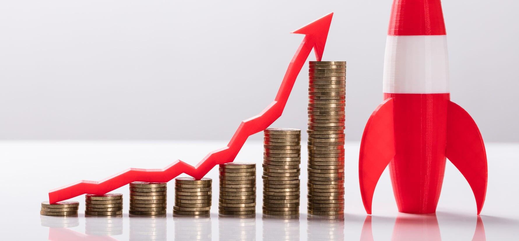 inversión fintech cohete flecha dinero despegue alza recurso bbva