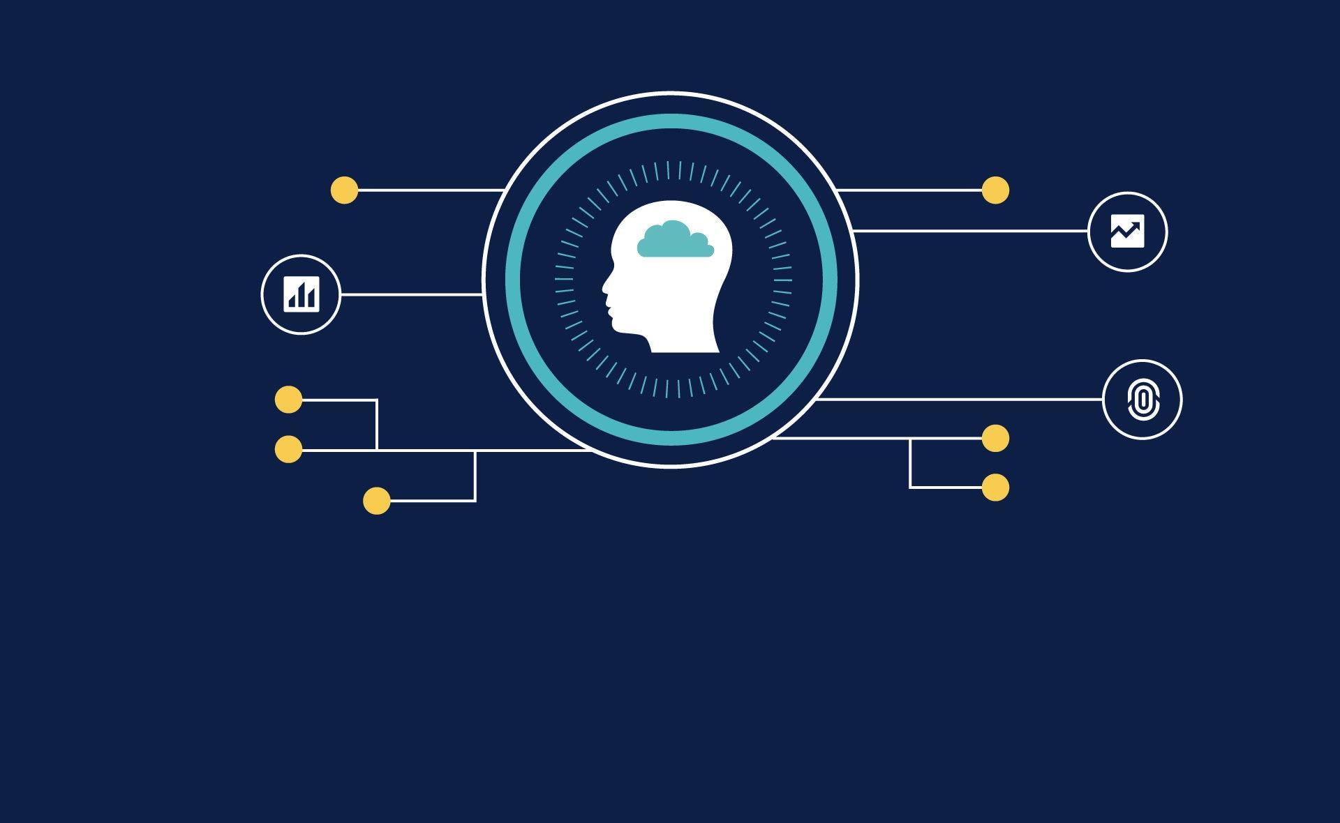 Forografía de BBVA, Inteligencia Artificial, plataforma, conexiones, cerebro, gráficos