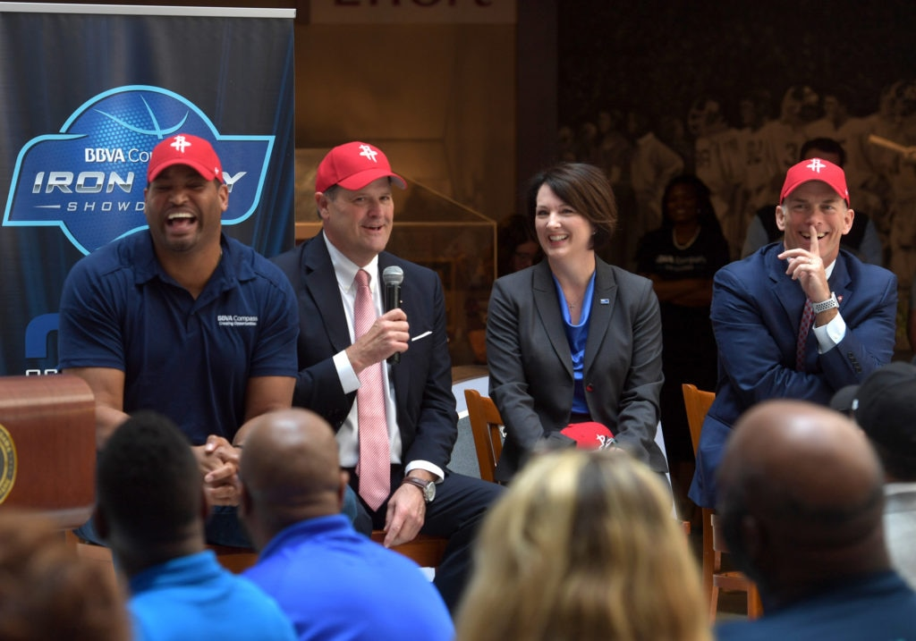 BBVA Compass and the Houston Rockets teamed up on Thursday, May 3, at a press conference held at the Alabama Sports Hall of Fame to announce the date, location and opponent of the BBVA Compass Iron City Showdown.
