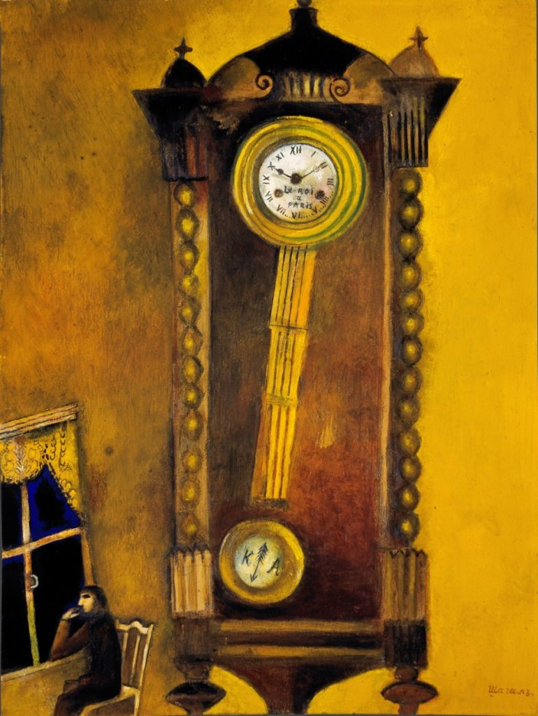 El reloj, 1914. Galería Estatal Tretyakov, Moscú © Marc Chagall, Vegap, Bilbao 2018