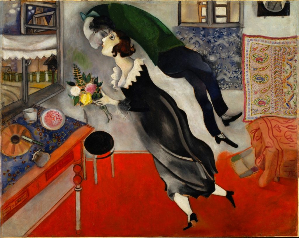El cumpleaños, 1915. The Museum of Modern Art, Nueva York. © Marc Chagall, Vegap, Bilbao 2018