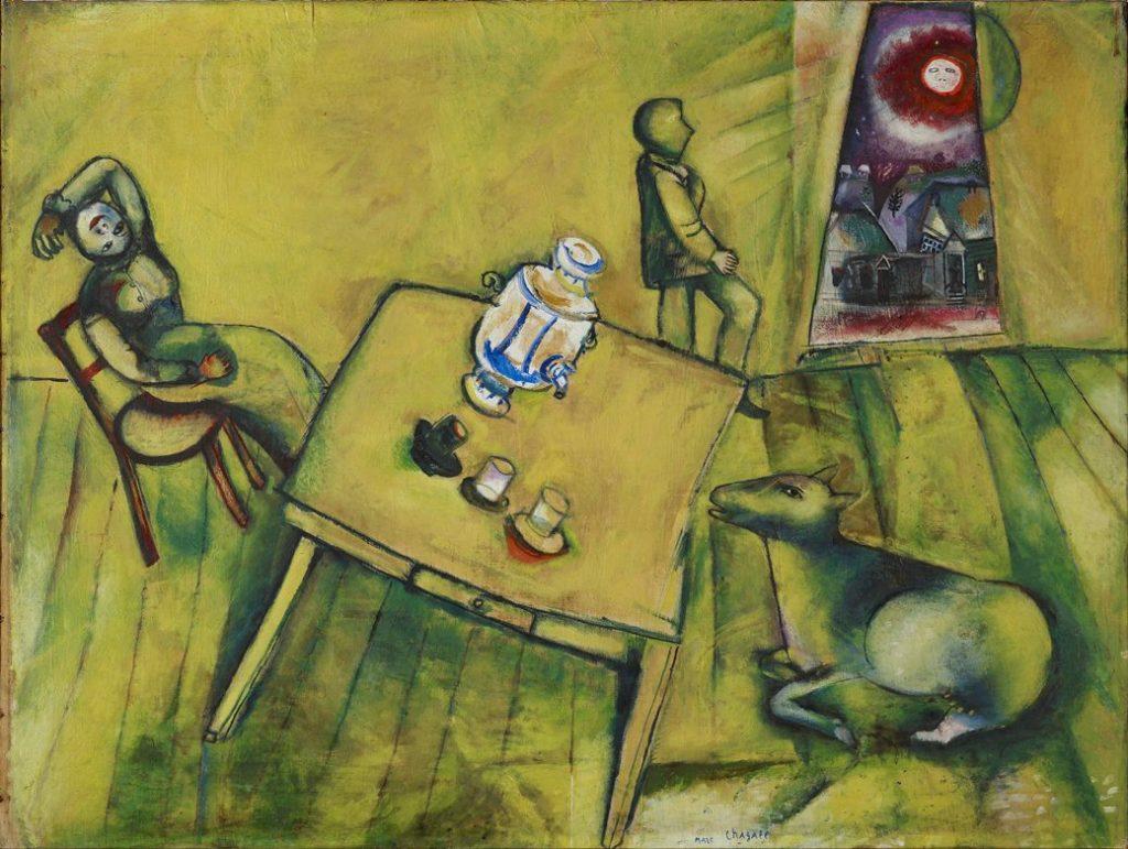 La habitación amarilla, 1911. Fondation Beyeler, Riehen/Basel, Colección Ernst y Hildy Beyeler © Marc Chagall, Vegap, Bilbao 2018