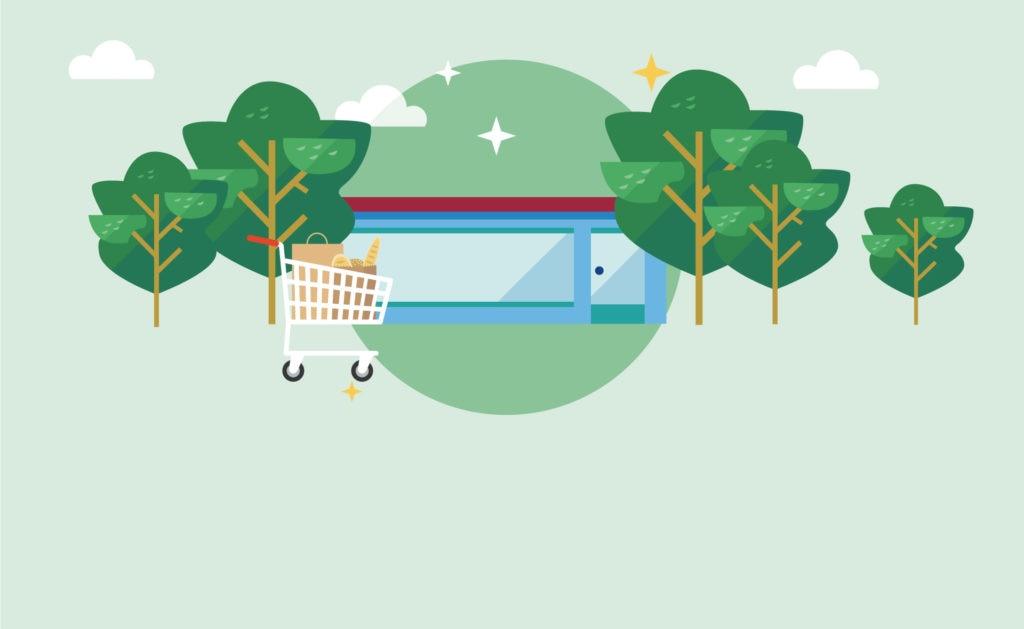 fotografía de Financiación sostenibles, finanzas, carrito, árboles, supermercado, verde, edificio