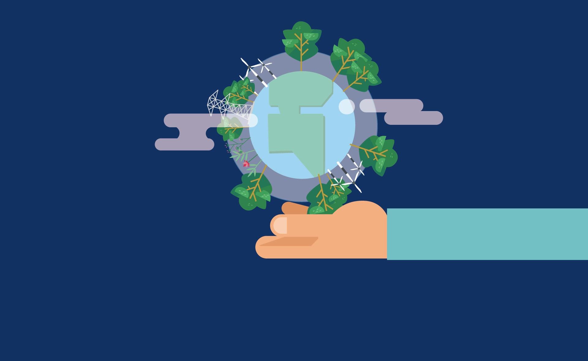 Fotografía de Tierra, globo terráqueo, plantas, energía renovable, planeta, medioambiente, mano, brazo, sostenibilidad, finanzas