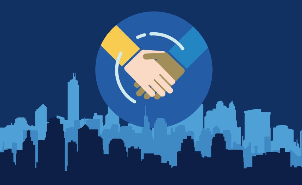 Fotografía de Acuerdo, trato, pacto, manos, estrechar, edificio, rascacielos, comprar