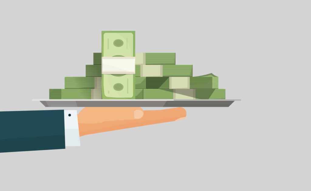 Fotografía de Working capital, dinero, billetes, bandeja, mano, verde
