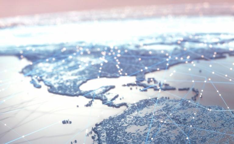 Fotografía de America, mapa, mundo, conexiones, puntos, unión