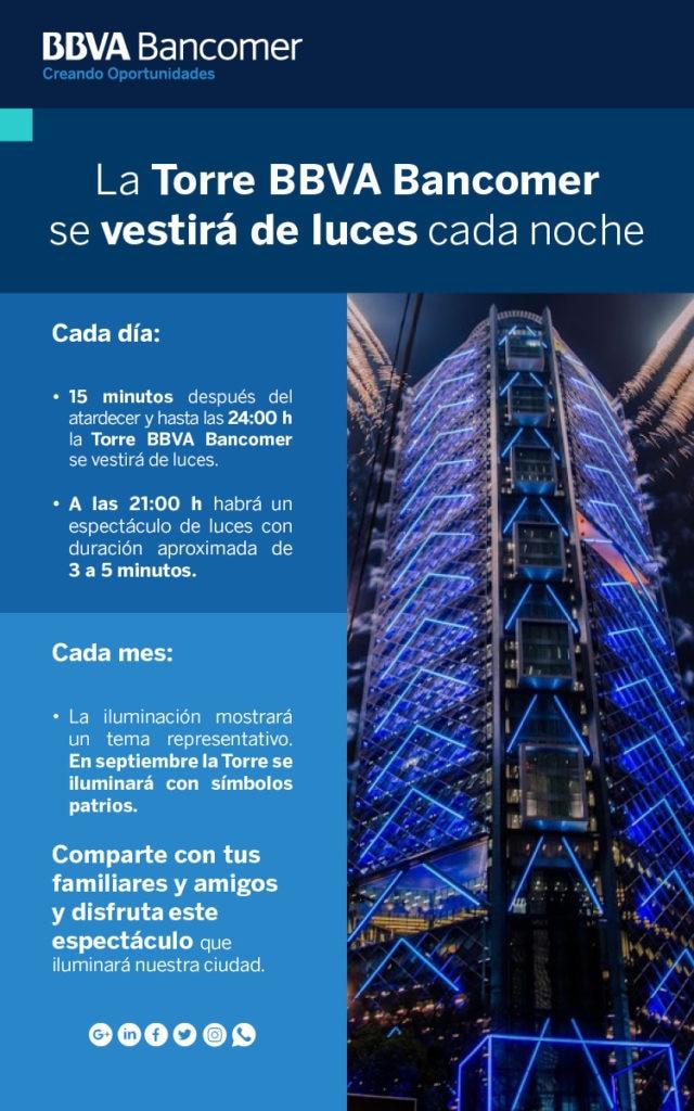 Encendido de luces de la Torre BBVA Bancomer