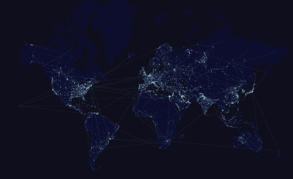 Fotografía de Blockchain, conexiones, mapa, mundo, líneas, luces