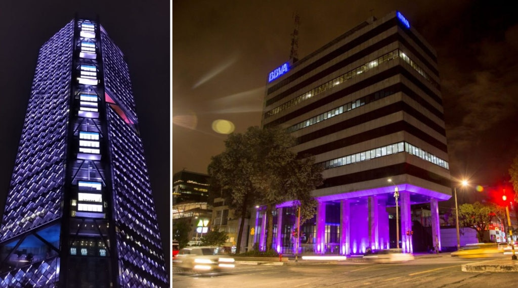 BBVA ilumina de morado sus sedes en México y Bogotá por el Día contra la violencia de género