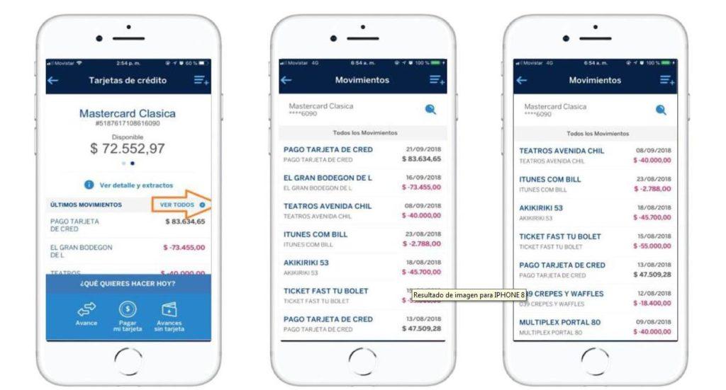 Los clientes pueden visualizar, sin importar la fecha de corte de la tarjeta de crédito, hasta 60 movimientos de los dos últimos meses