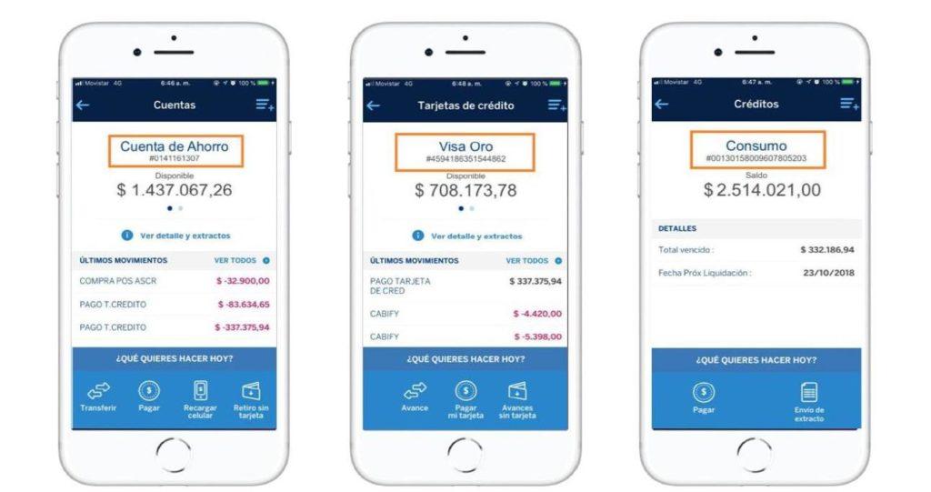 El usuario puede visualizar el número completo del producto que tiene activo con BBVA, lo cual se constituye en una facilidad a la hora de facilitar las transacciones.