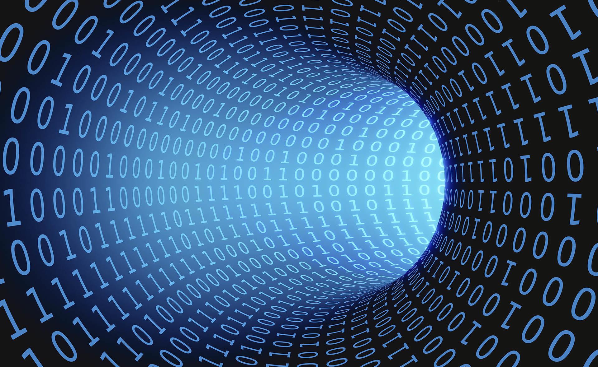 Fotografía de Préstamo digital, digitalización, tencología, innovación, binario, túnel, camino, financiación