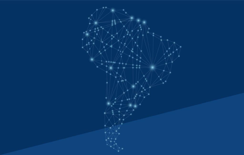 Fotogradía de Latam, mapa, conexiones, luces, networking, inversiones, finanzas