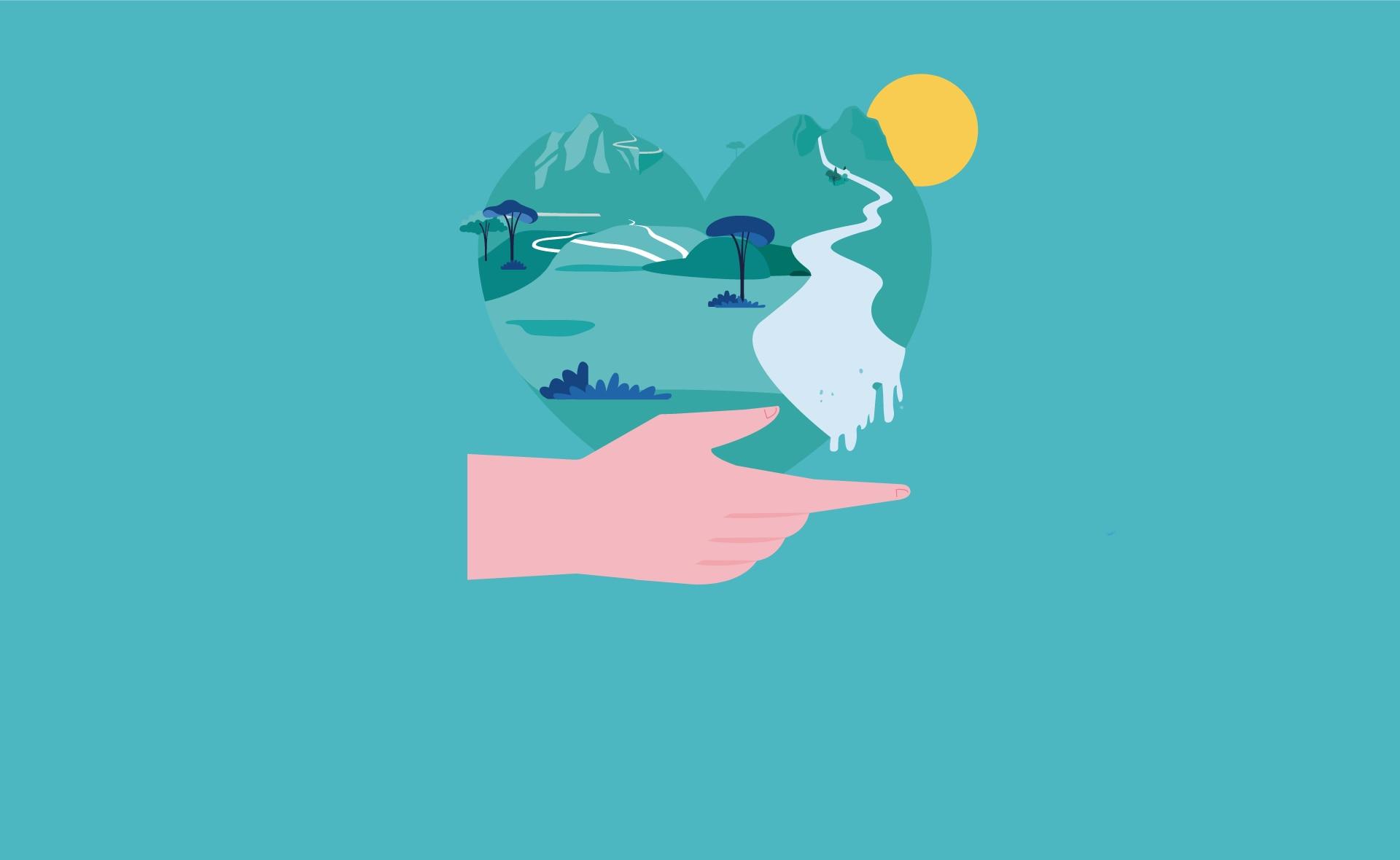 Fotografía de Ser o no ser, corazón, naturaleza, medioambiente, sol, mano, paisaje, cambio climático, sostenibilidad, sostenible